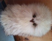 OOKpiK, eskimo owl, snowy, real natural Fox Fur and leather deer, symbol of Canadian Inuit Art,