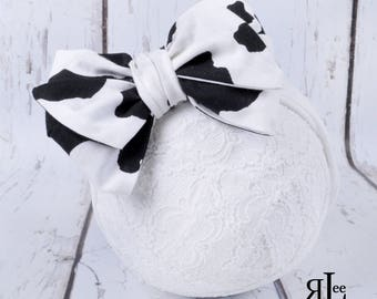 Cow Bow - Cow Headband - Cow Clip - Faux Headwrap Bow