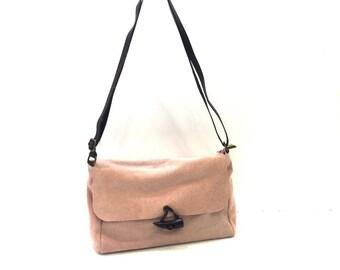 Powder Pink Suede Handbag.