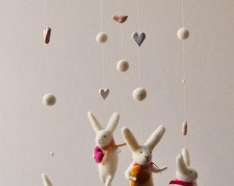 Bunny Mobile, Nursery Mobile, Baby Mobile, Baby Crib Mobile, White Bunny Mobile
