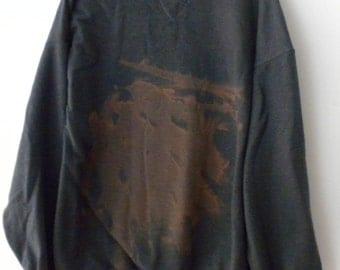Sweatshirt, Gray Sweatshirt, Crewneck Sweatshirt, acid wash sweatshirt, Extra large Sweatshirt, tie dye, Rocker, Graphic, Back to School