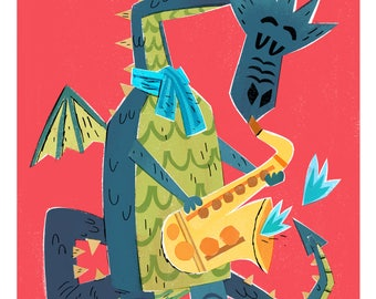 Saxaphone Dragon Print / The Fire Starters/ Musical Dragons/