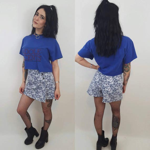 90s Vintage Floral Skort - Small Mini Skirt Shorts - Blue Denim Miniskirt with Shorts Underneath 4 6 - Flower Print Grunge 1990s Style