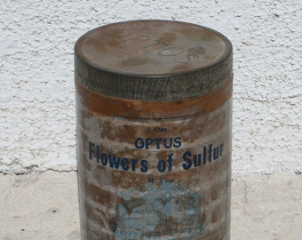 Optus Flowers of Sulfur Pharmacy Vintage Tin Container