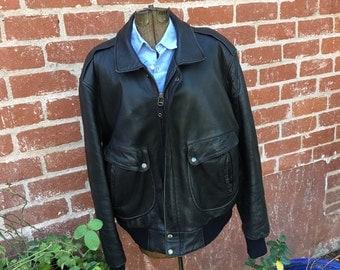 Bomber Jacket--Motorcycle Jacket--Vintage BomberJacket--Vintage Motorcycle Jacket--Vintage Leather Jacket--Black Leather Jacket--Aviator