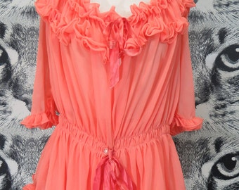 60s Coral Pink Sheer Teddy and Panty Set / L / XL / XXL