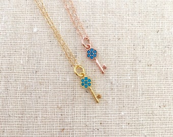 Tiny Gold Key Necklace, Rose Gold Key Necklace, Beaded Turquoise Gold Key Necklace, Key to my heart, Mother's Day Gift, Little Girl Key