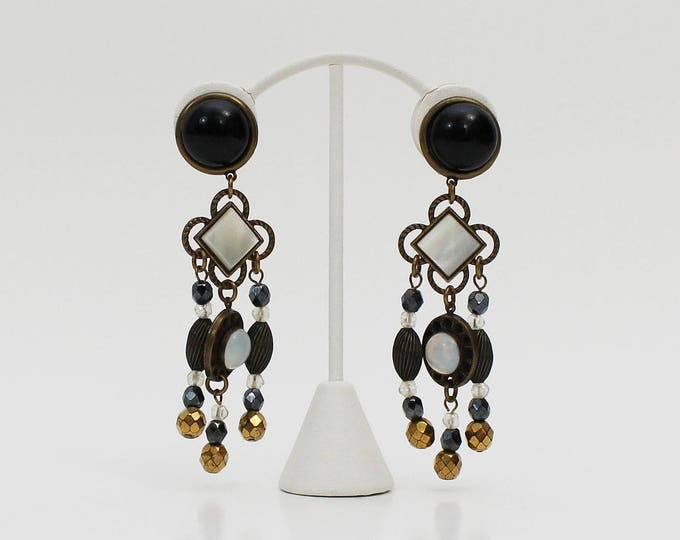 60s Chandelier Earrings - Vintage 1960s Black and Gold Beaded Clip Ons