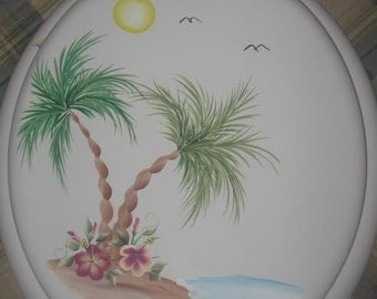 NEW* Round wood TOILET SEAT, Hand Painted, Tropical Palm Trees, Bathroom decor, Hibiscus, Beach, Powder Room
