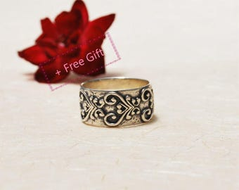 Black Silver Ring, Oxidized Silver Ring, Rustic Ring, Wide Silver Band Ring, Patterned ring, Paisley ring, Oriental ring, Ethnic ring