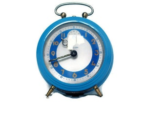 Blue Bayard alarm clock from France -- retro home decor -- reveil