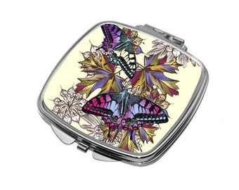 Butterfly gifts. Compact Mirror for handbag or pocket. Nature lover, Gifts for women with butterflies. M30