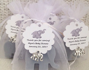 Mini Elephant Baby Shower Favors (1 soap per bag plus tag and charm). Different color soaps available.