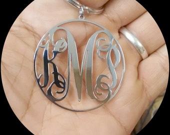 Monogram Keychain Silver Stainless Steel
