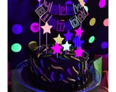 80s cake topper - neon cake topper - glow cake topper - neon party - glow party - neon party decor - neon birthday - 80s party
