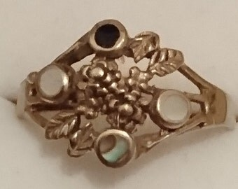Vintage brass and gemstone ring