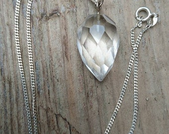 Vintage faceted glass /crystal drop pendant and chain