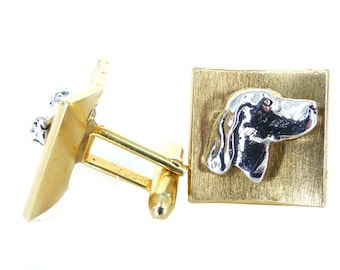 Unique vintage Swank dog profile two tone set of cufflinks. Curved & textured face in gold with sculpted profile of retriever in silver
