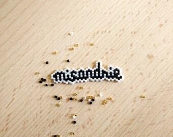 PIN misandry in beads black and white weave miyuki peyote jewellery