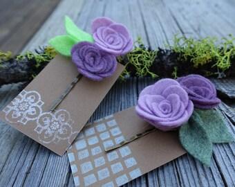 Felt Flower Bobby Pins, Purple Flower Bobby Pin Set