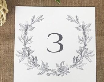 Monogram Wreath Wedding Table Numbers, Laurel Wreath Wedding Table Number Cards, Printed Table Numbers, Wedding Table Numbers