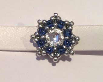 10mm Flat Leather Star Slider, Silver, Blue and Crystal