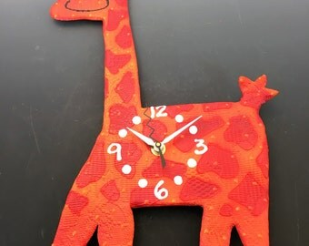 Kids Clock, Happy Giraffe Clock,Baby Nursery Clock,Animal Clock, Modern Clock for Kids