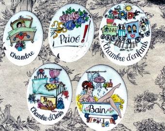 Set of Five Door Plaques French 1970's1980's Worn Chambre D'Amis, Chambre, Prive, Bain, Chambre D'Enfants Metal Enamel Chips Door Furniture