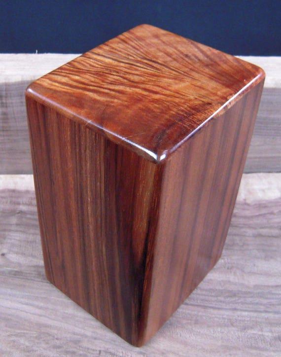 "Curly Hawaiian Koa Medium Size Memorial Cremation Urn...5 3/4"" x 5"" x 9"" ..Constant Supply On Hand MK030217C Wooden Urn"