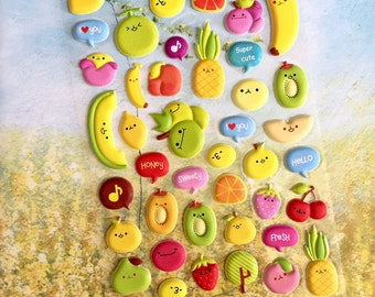 cartoon fruit sticker happy colorful fruit party peach Strawberry banana  grapes puffy sticker cookbook label recipe notebook label