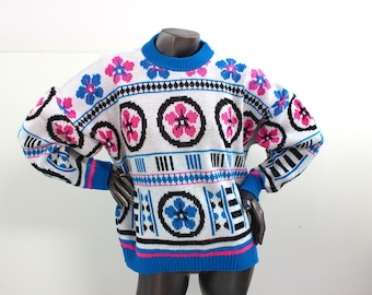 80s Neon Pink and Blue Flower Sweater