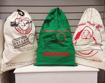 Personalized Christmas Santa Sack/Christmas Bag/Gift Bag!  Perfect option to Christmas Wrapping!
