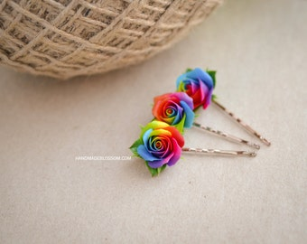 Handmade rainbow roses bobby pin, polymer clay rainbow rose, rainbow hair accessories, tie die wedding accessories, handmade fimo roses
