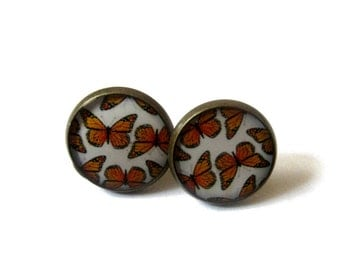 Gift for her - BUTTERFLY EARRINGS - butterflies studs - butterfly jewelry - orange butterfly - boho earring - orange earrings for|wife folk