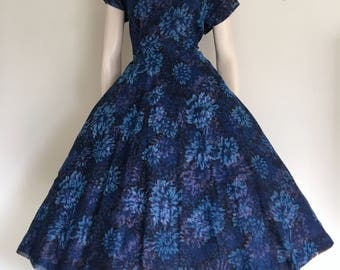 Lovley 50s Blue Floral Chiffon Party Dress / Full Skirt / Large / Garden Party