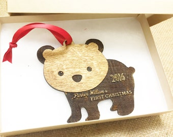 Personalized Baby's First Christmas Ornament, Personalized Ornament, Rustic Wood Christmas Ornament, Keepsake Ornament