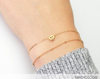 Tiny Skull Bracelet B18 • Dainty Layering Bracelet, Delicate Charm, Skeleton, Cute Skull, 14k Gold Fill, Rose Gold Fill, Sterling Silver