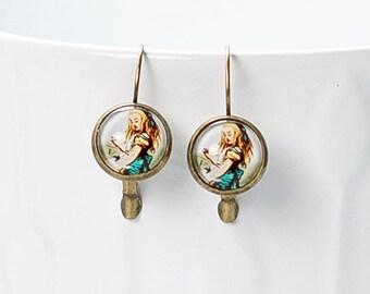 Alice in Wonderland Earring   Lewis Carroll   Brass   French Earwires Hook   Earrings in metal brass with image under glass