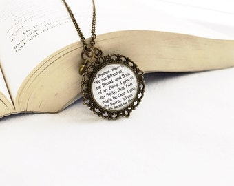 Handmade Outlander Jamie Fraser Claire Randall Quote Necklace // Ye are Blood of My Blood, Bone of My Bone Necklace Diana Gabaldon