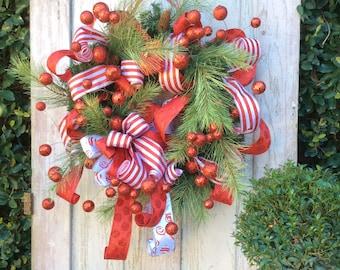 Large Christmas Wreath, Red Christmas Wreath, Whimsical Christmas Wreath, Christmas Front Door Wreath,Jolly Christmas Wreath,Red Ball wreath