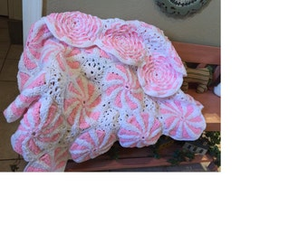 Sweet Pink Peppermint Crocheted Baby Blanket