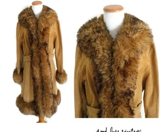 Almost Famous Coat 70s Jacket Shearling Fur Suede Leather Hippie Hipster Boho Rockstar 1970s Warm Winter Wear Large