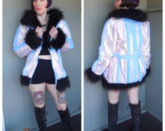 Vintage 90s Pink Blue Black Shaggy Long Pile Monster Fur Clear Vinyl Burning Man Club Kid Coat - size Small Medium