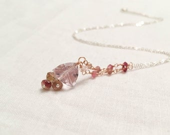 Pink Amethyst and Tourmaline Pendant Necklace - Mixed Metal Tassel 14k Rose Gold Fill Wire Wrapped Sterling Silver Chain November Birthstone