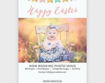 Mini Session For Photographers - Easter Spring Photography Marketing PhotoshopTemplate - Instant Download - Layered PSD c137