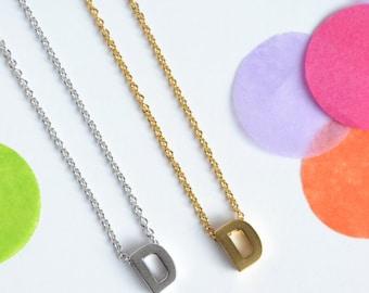 Upper Case letter 'D' Initial Necklace, Gold or Silver Plated Letter D Necklace  | Little Wren