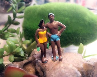 happy  beach black peoples couple  figure perfect for miniature terrarium or diorama