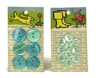 French Vintage Children Button Cards. Iminacre Buttons on Cards.