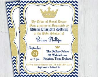 printable little prince baby shower invitation royal highness royal blue gold royal