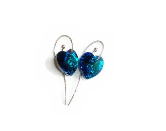 Valentine's Day, Gift for Her, Bridal Earrings, Sterling Silver & Swarovski Crystal Heart Earrings, Wedding Earrings, Blue Crystal Earrings
